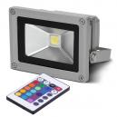 Proyector LED IP65 de 10W con Mando y Luz Multicolor RGB