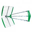 Antena TDT de 43 elementos, 15 dB de ganancia, 75 Ohm de frecuencia, canales 21-69 | Verde