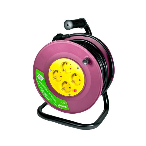 Alargador extensible de 50 mtrs de 3x1 5 mm con 4 tomas for Alargador electrico 50 metros